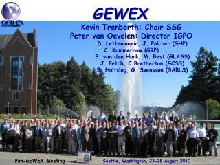 Pan-GEWEX Meeting      Seattle, Washington, 23-28 August 2010