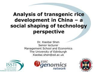 Analysis of transgenic rice development in China – a social shaping of technology perspective