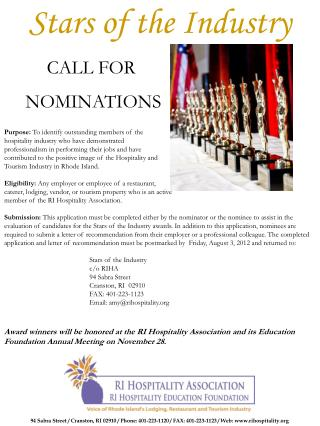 Stars of the Industry CALL FOR  NOMINATIONS Purpose:  To identify outstanding members of the