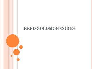 REED-SOLOMON CODES
