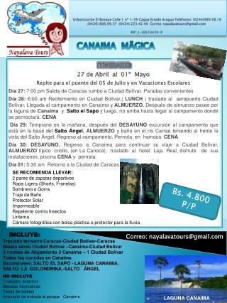 ITINERARIO : 27 de Abril  al  01º  Mayo
