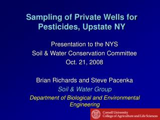 Sampling of Private Wells for Pesticides, Upstate NY