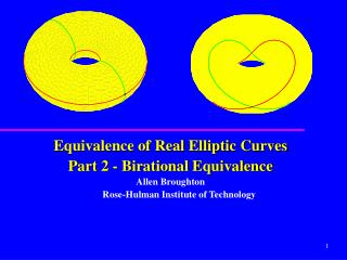 Equivalence of Real Elliptic Curves  Part 2 - Birational Equivalence Allen Broughton