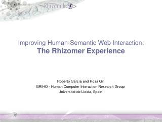 Improving Human-Semantic Web Interaction: The Rhizomer Experience