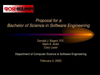 Proposal for a Bachelor of Science in Software Engineering