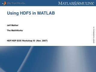 Using HDF5 in MATLAB