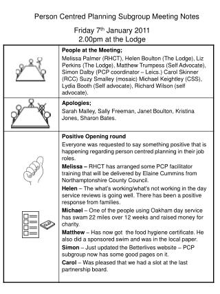 Person Centred Planning Subgroup Meeting Notes