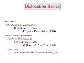Dislocation Basics
