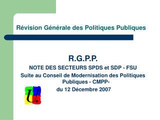 R�vision G�n�rale des Politiques Publiques