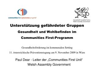 "Paul Dear - Leiter der ""Communities First Unit"" Welsh Assembly Government"