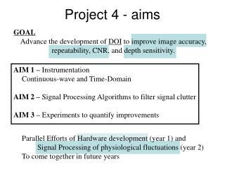 Project 4 - aims