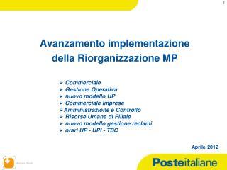 Avanzamento implementazione  della Riorganizzazione MP