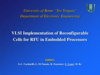 VLSI  Implementation of Reconfigurable Cells for  RFU in  Embedded Processors