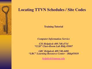 Locating TTVN Schedules / Site Codes