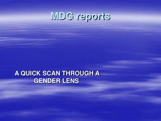 MDG reports