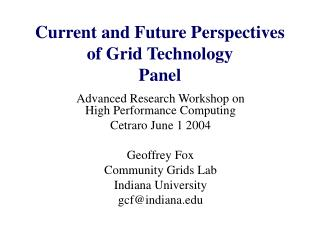 Current and Future Perspectives of Grid Technology Panel