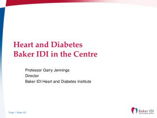 Heart and Diabetes Baker IDI in the Centre