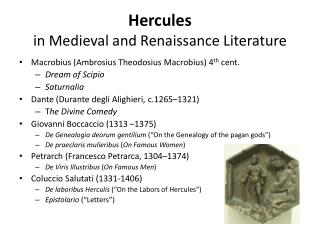 Hercules  in Medieval and Renaissance Literature