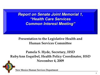 Presentation to the Legislative Health and Human Services Committee Pamela S. Hyde, Secretary, HSD