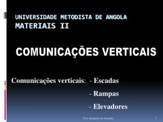 UNIVERSIDADE METODISTA DE ANGOLA MATERIAIS II
