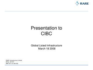 Presentation to  CIBC