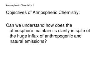 Atmospheric Chemistry 1