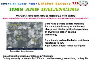 New nano-composite cathode material LiFePo4 battery Advanced crystallization of ultrafine particles with coated carbon t