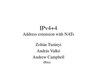 IPv4+4 Address extension with NATs