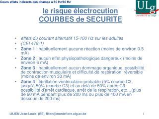 le risque électrocution  COURBES de SECURITE