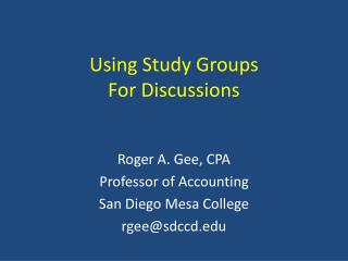 Using Study Groups For Discussions