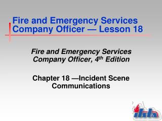Fire and Emergency Services Company Officer  —  Lesson 18