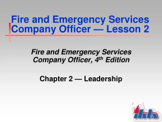 Fire and Emergency Services Company Officer  —  Lesson 2