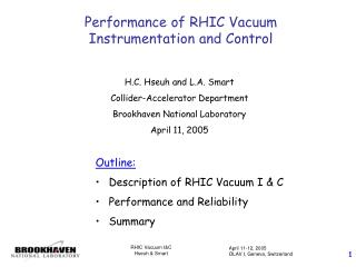 Performance of RHIC Vacuum Instrumentation and Control