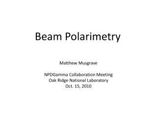 Beam Polarimetry