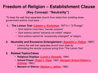 Freedom of Religion – Establishment Clause