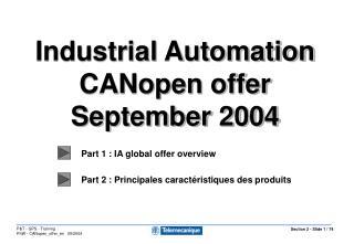 Part 1 : IA global offer overview Part 2 : Principales caractéristiques des produits