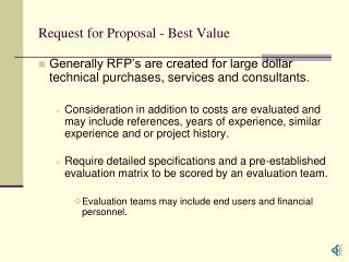 Request for Proposal - Best Value