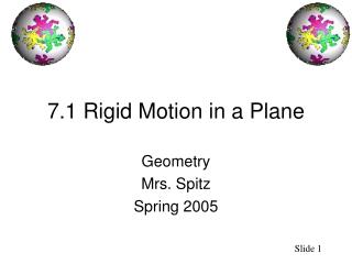 7.1 Rigid Motion in a Plane