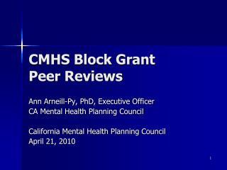 CMHS Block Grant  Peer Reviews