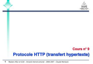 Cours n° 9 Protocole HTTP (transfert hypertexte)