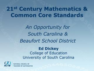 21st Century Mathematics  Common Core Standards
