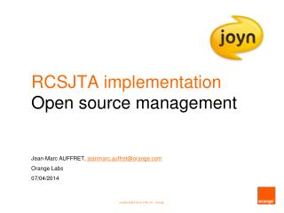 RCSJTA implementation Open source management