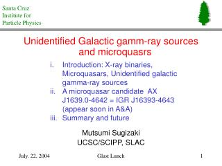 Unidentified Galactic gamm-ray sources and microquasrs Mutsumi Sugizaki UCSC/SCIPP, SLAC