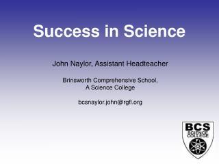 Success in Science