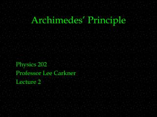 Archimedes� Principle