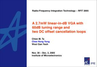 A 2.7mW linear-in-dB VGA with 60dB tuning range and  two DC offset cancellation loops