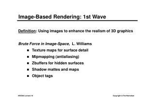 Image-Based Rendering: 1st Wave