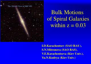 Bulk Motions  of Spiral Galaxies within z = 0.03