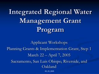 Integrated Regional Water Management Grant Program