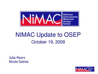 NIMAC Update to OSEP October 19, 2009